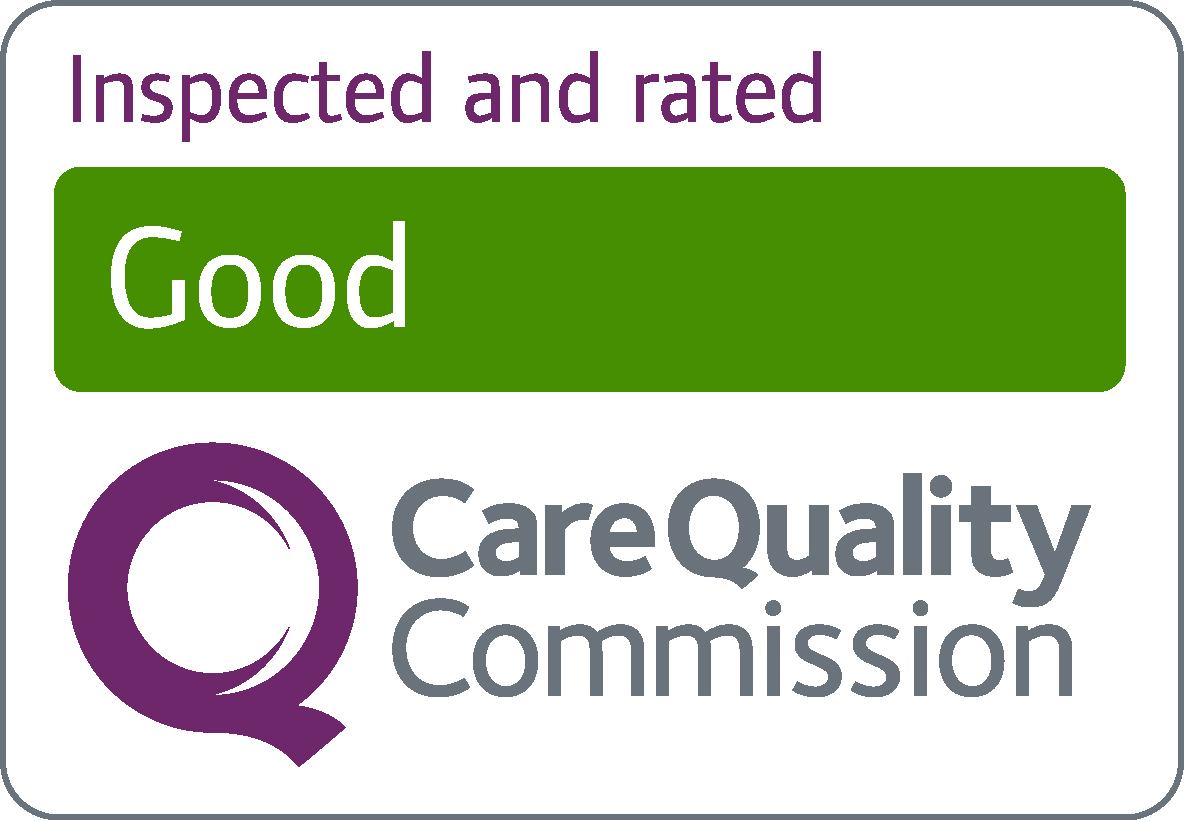 Logo with green banner saying good from the Care Quality Commission