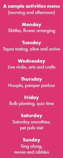 A list of two activities that happen every day throughout the week