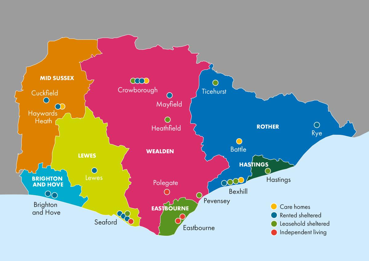 map showing our properties across Sussex