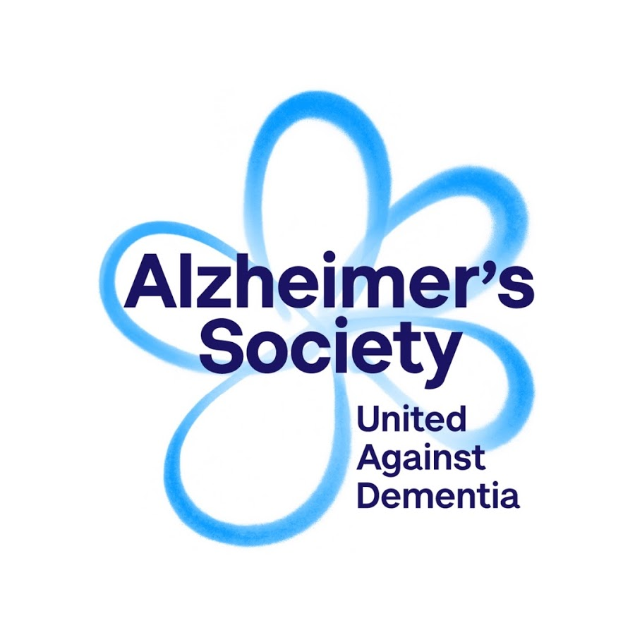 A blue flower with alzheimers society written over it