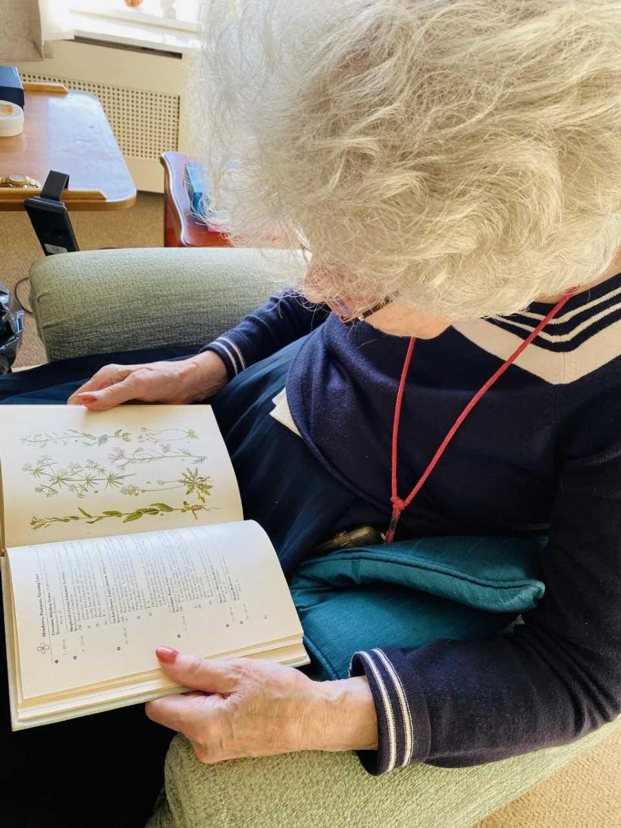 Lady resident looking at wild flower images in a book