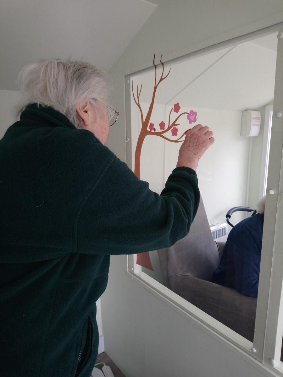 lady resident placing flower stickers on the window