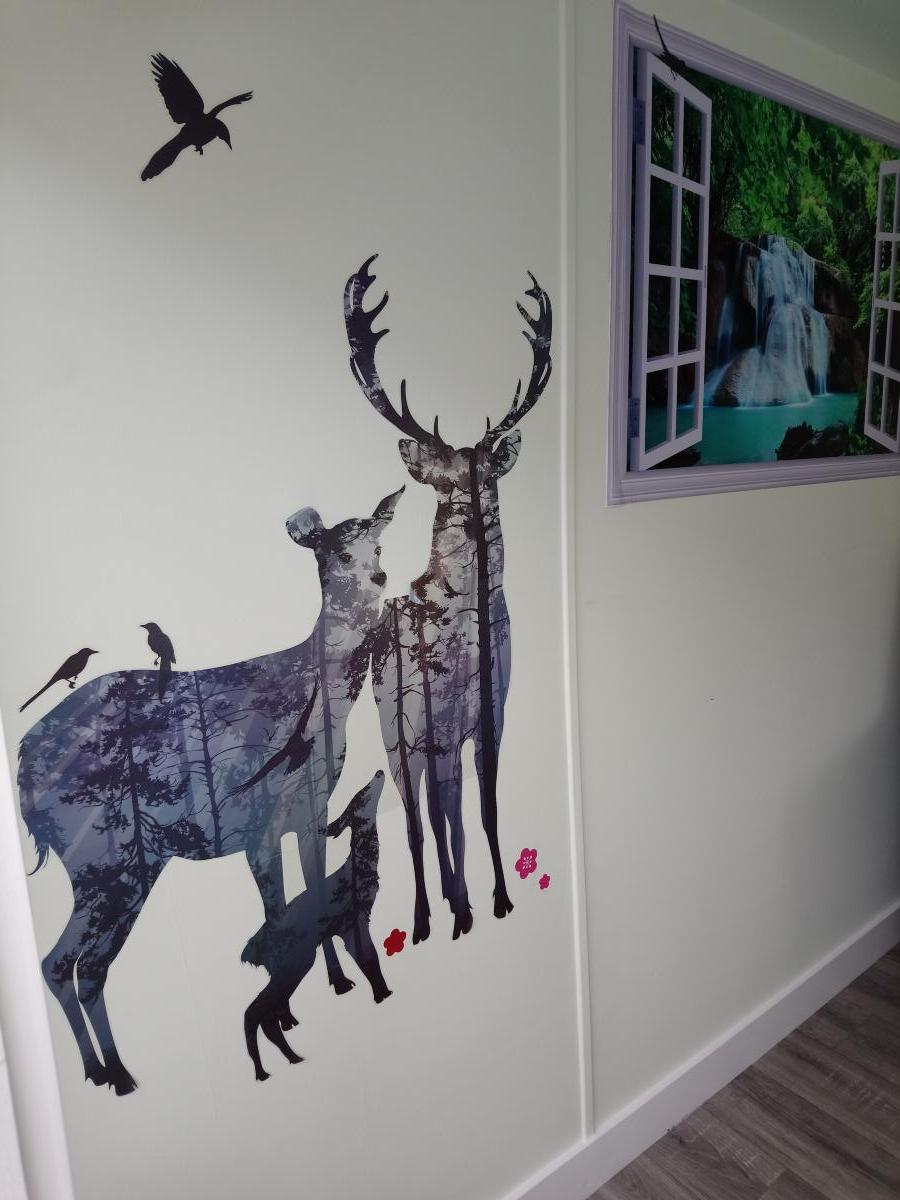 large deer stickers on the wall
